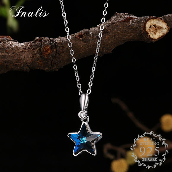 Crystals from Austrian  Blue Star Crystal Pendant Necklace for Women Fine Jewelry Wedding Part Accessories