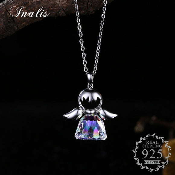 Necklace Lovely Angle Pendant Real S925 Necklaces for Women Girl Jewelry Gift SVN195