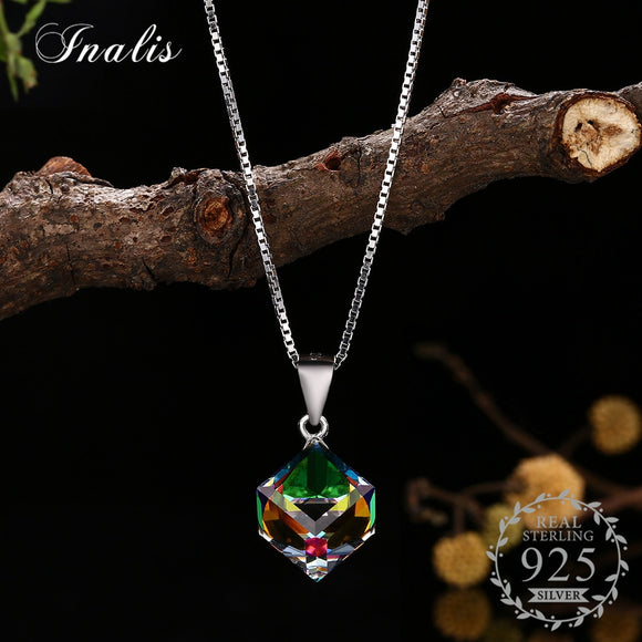 Necklaces Cube Pendant Necklace for Women Fashion Jewelry Gift 2018 New Style YHN0025B-MU