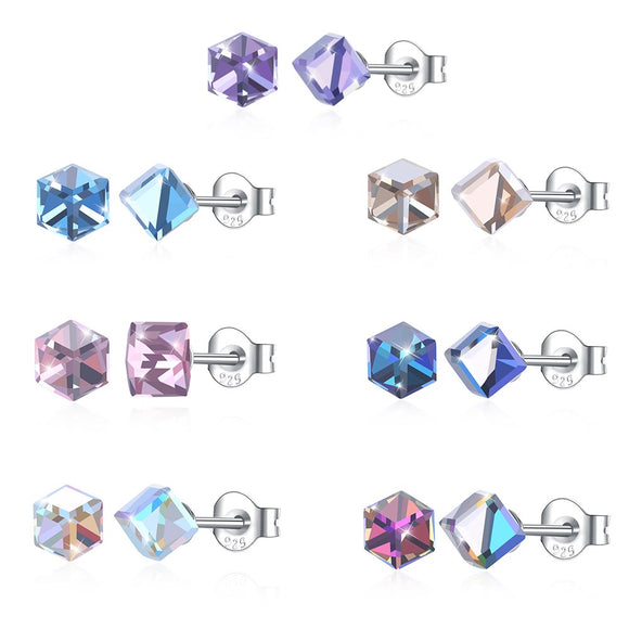 Crystals from Austrian Jewelry Silver 925 Square Color Stud Earrings Fashion Jewelry For Women Party Gift SVE293