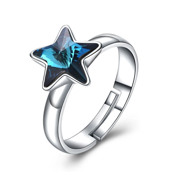 BAMOER 925 Stering Silver Rings With Star Stones Crystals form Austrian  Romantic Adjustable Fashion Jewelry For Engagement SVR277
