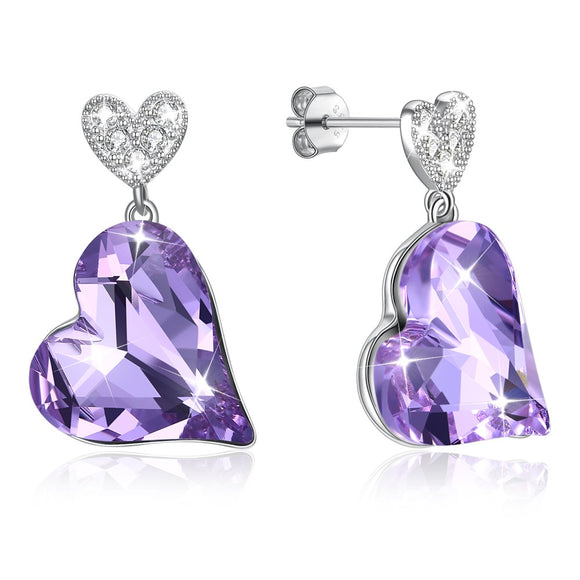 Crystals from Austrian 925 Sterling Silver Women Wedding Earrings Jewelry Heart Crystal Hanging Stud Earrings SVE329