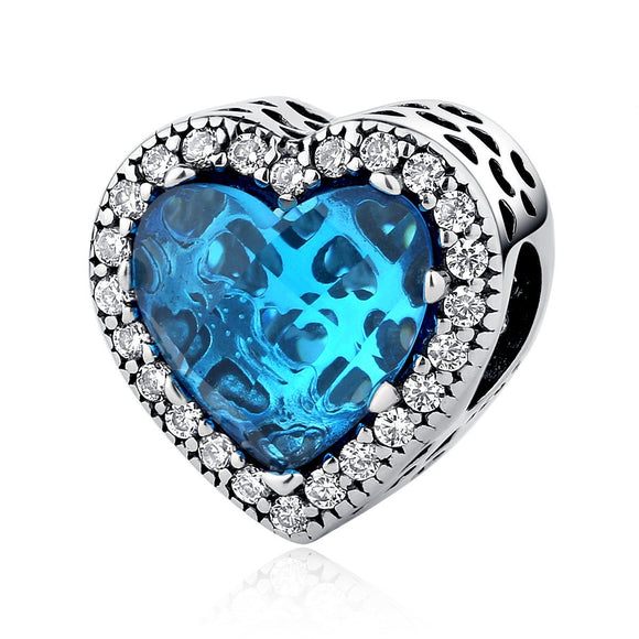 925 Sterling Silver Blue Radiant Hearts Beads Charms Fit Pandora Bracelets Valentine's Day Gift PSC054