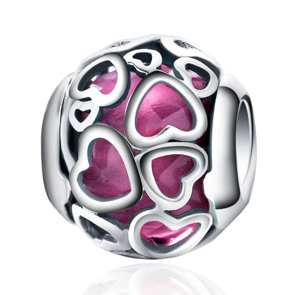 925 Sterling Silver Cerise Encased In Love, Cerise Crystal Openwork Heart Charms Fit Bracelet Jewelry Making PSC067