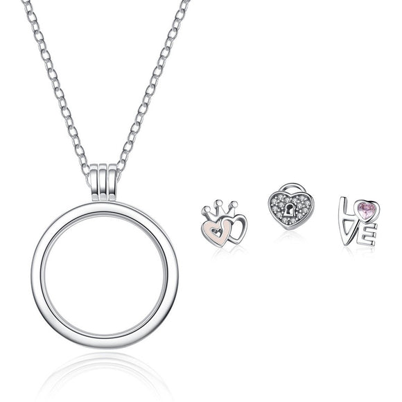 100% 925 Sterling Silver Forever Hearts Petites Pink Clear CZ Floating Locket Necklaces