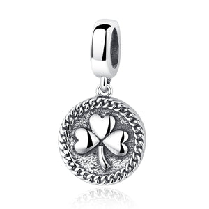 Vintage 100% 925 Sterling Silver Clover Round Shaped Pendant fit DIY Beads & Jewelry Makings Accessories SCC039