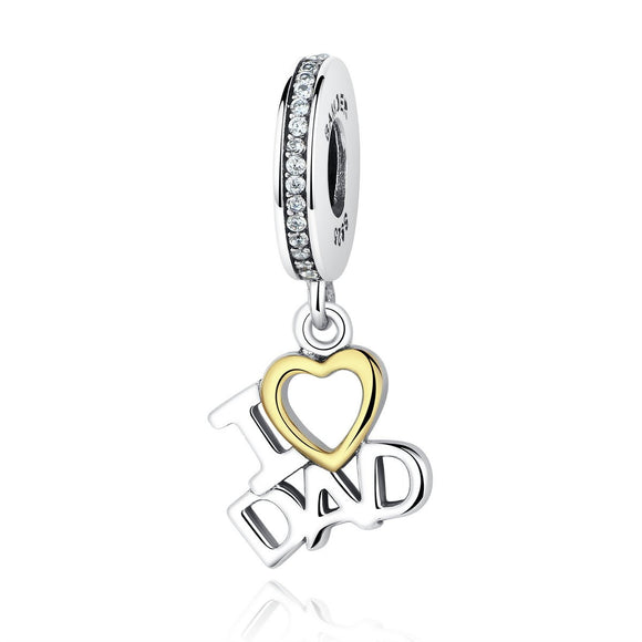 1 pcs 100% 925 Sterling Silver I Love DAD Heart Pendants fit DIY Charms Bracelets Beads & Jewelry Makings SCC052