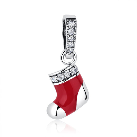 925 Sterling Silver Christmas Gift Socks Pendant for Silver Snake Necklace Women Winter Jewelry with CZ Red Enamel SCC074