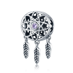 Genuine 925 Sterling Silver Beautiful Dream Catcher Holder Beads fit Charm Bracelet Necklace DIY Jewelry SCC330