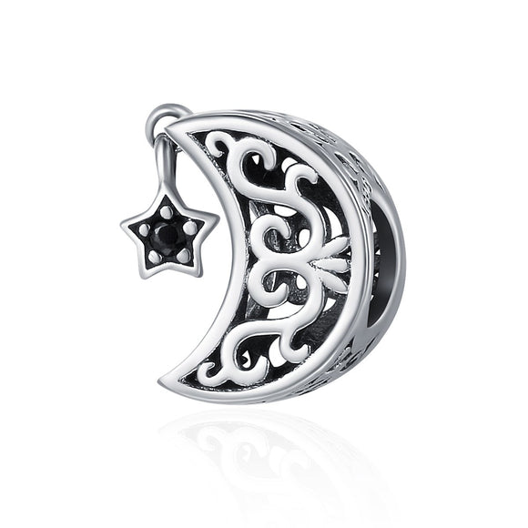 100% 925 Sterling Silver Openwork Moon and Star Goodnight Charm Beads fit Bracelet DIY Jewelry Valentine Day Gift SCC483