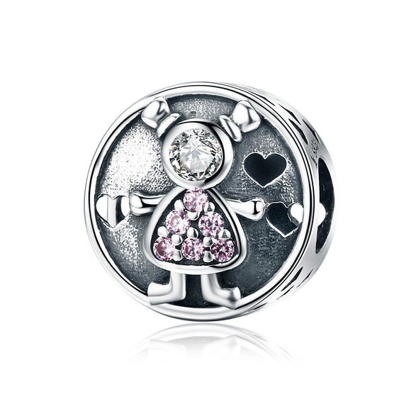 Genuine 925 Sterling Silver Lovely Child Baby Sweet Family Charm Beads fit Charm Bracelet for Women DIY Jewelry SCC542