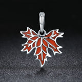 100% 925 Sterling Silver Autumn Maple Tree Leaves Pendant Necklace for Women Luxury Sterling Silver Jewelry Gif SCC585