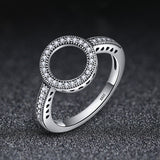 925 Sterling Silver Forever Clear CZ Circle Round Finger Rings for Women Wedding Engagement Jewelry SCR041