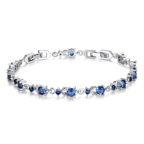 Luxury Slender White Gold Plated Bracelet with Sparkling Blue Cubic Zirconia Stones YIB026-BU