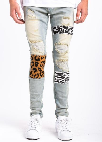 MILAN DENIM- PATCHED/SLIM/STRETCH/RIPPED
