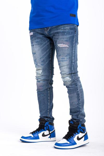 TURIN DENIM-SLIM/STRETCHY/STICHED/DISTRESSED