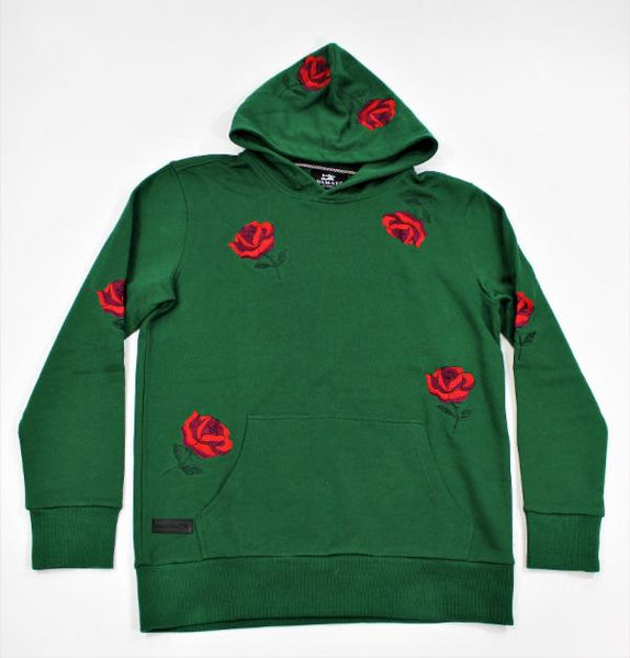 DMT 069 GREEN - RED ROSES HOODIE