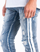 PALERMO BLUE DENIM-DOUBLE WHITE STRIPE ON SIDE/STRETCH