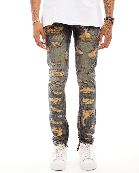TIKRIT RIP AND DESTROYED  DENIM-/SLIM/NON STRETCH