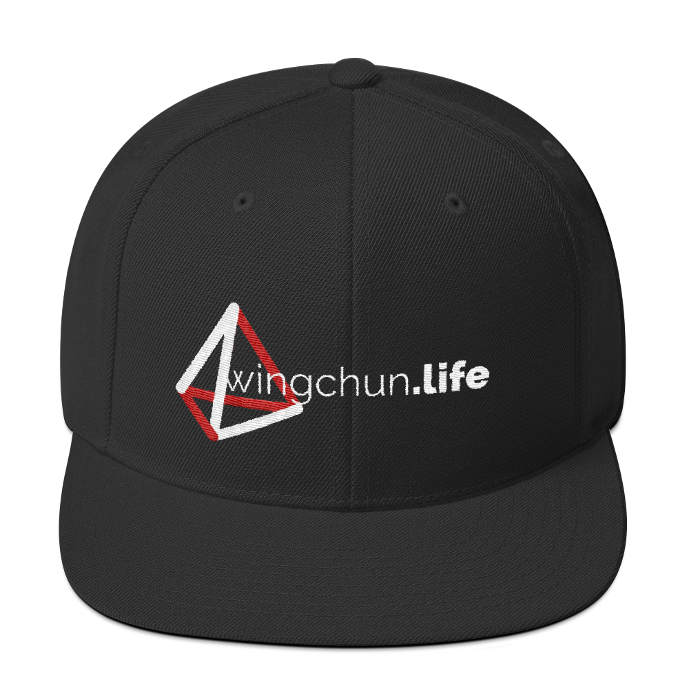 Black baseball cap with red and white kung fu design.