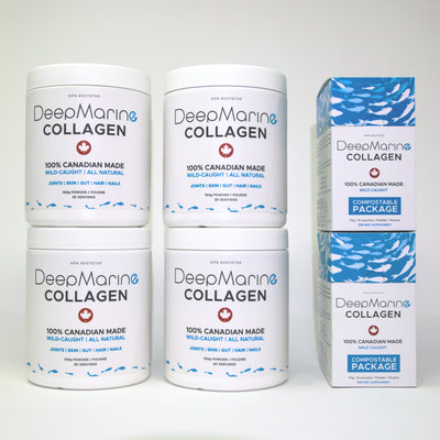 <strong>LIMITED OFFER: Save $54</strong></br>120 day supply 100% Pure, Canadian Marine Collagen PLUS 2 FREE 10 x 5g Single-dose sachets. 100% COMPOSTABLE satchels