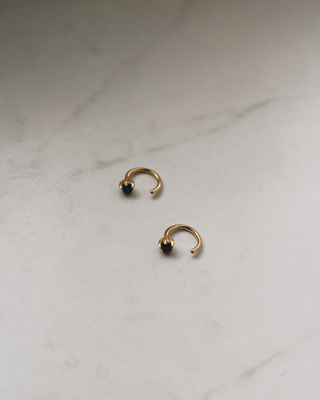 Gold Vermeil Black CZ Huggies