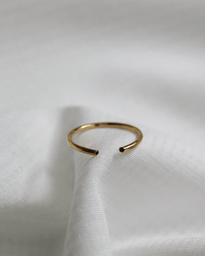 Open Ring - Black CZ Ring - 24k Gold Vermeil Ring