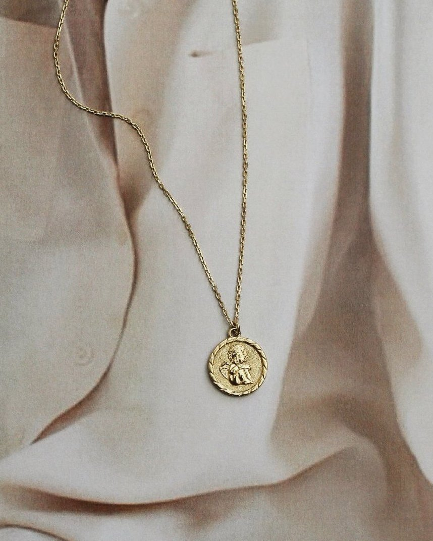 Vermeil Guardian Angel Coin Necklace