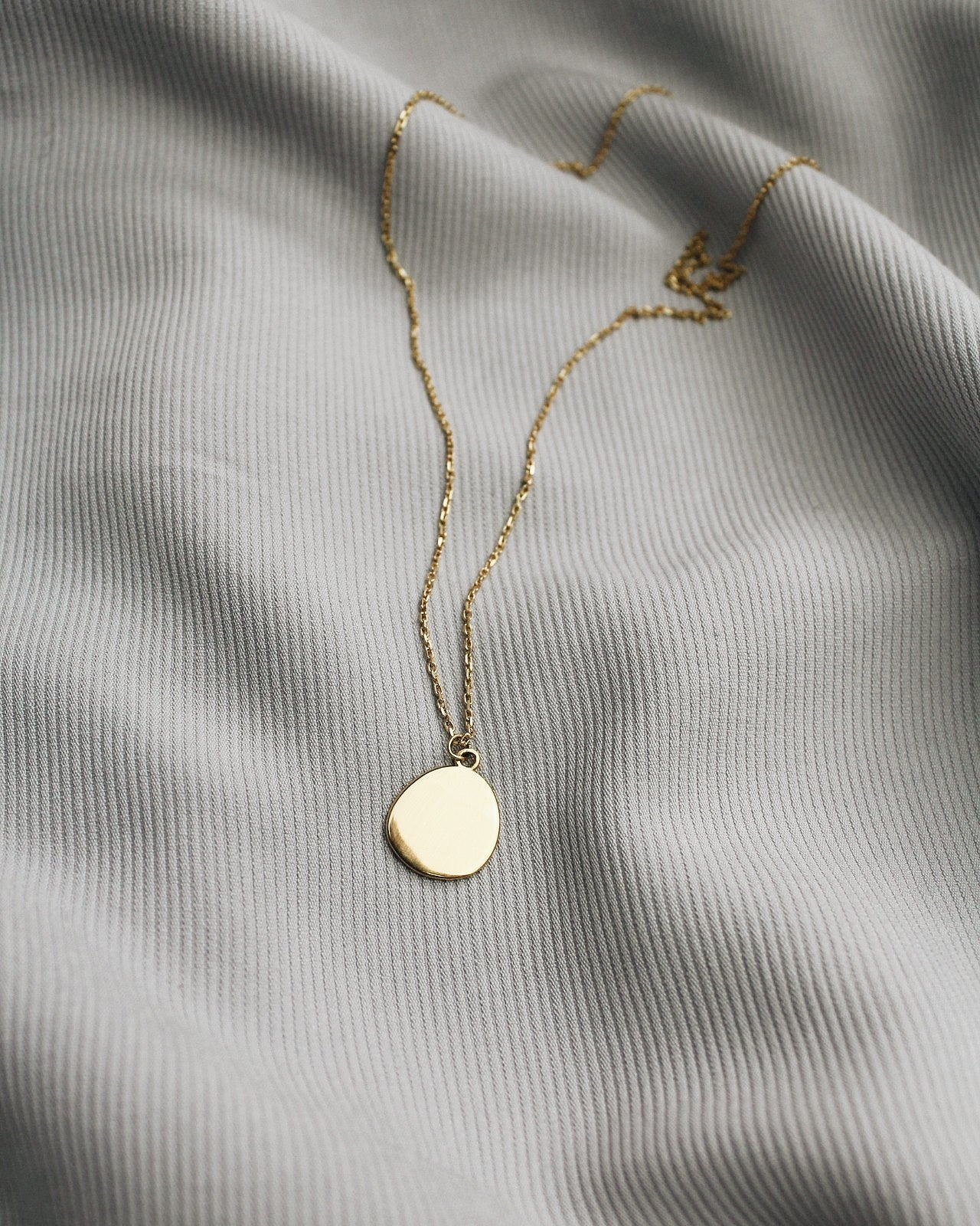 Organically Shaped Disk Necklace 24k Gold Vermeil