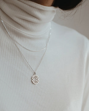 925 Silver Roman Disc Necklace
