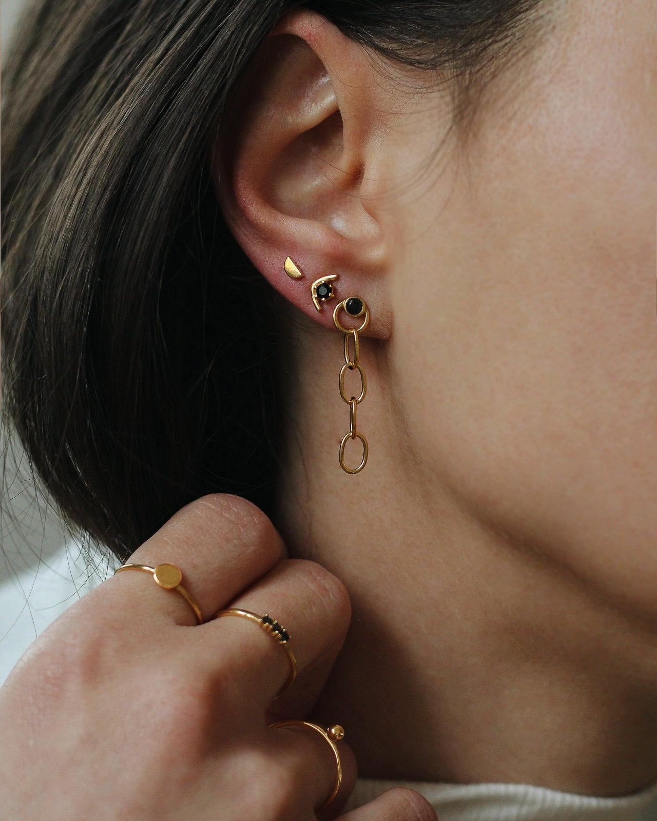Gold Vermeil Black CZ Chain Earrings