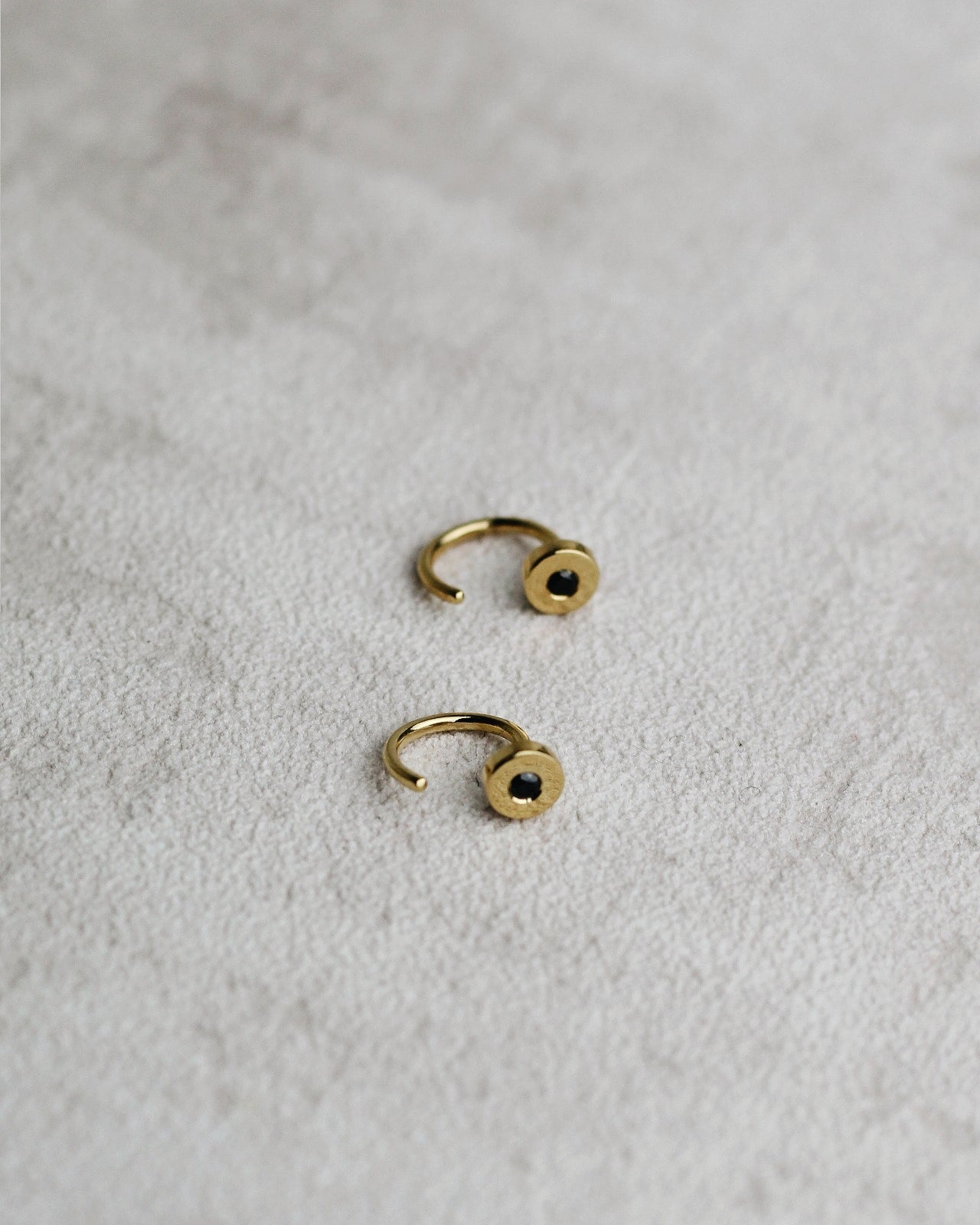 Gold Vermeil Open Hoops - Black CZ Huggies
