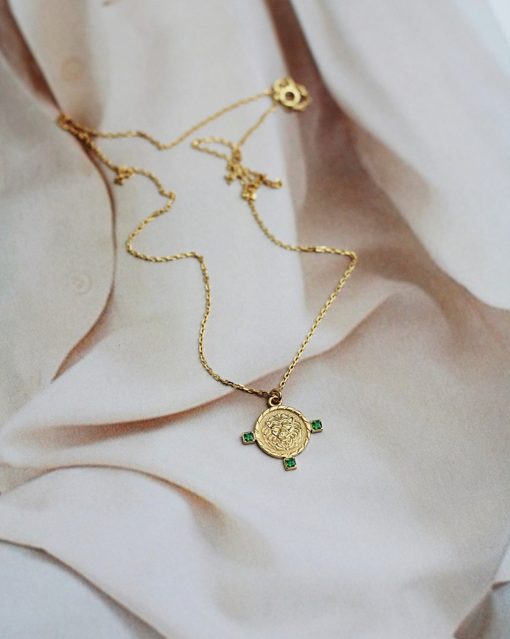 Gold Vermeil Lion Coin Necklace - Green CZ