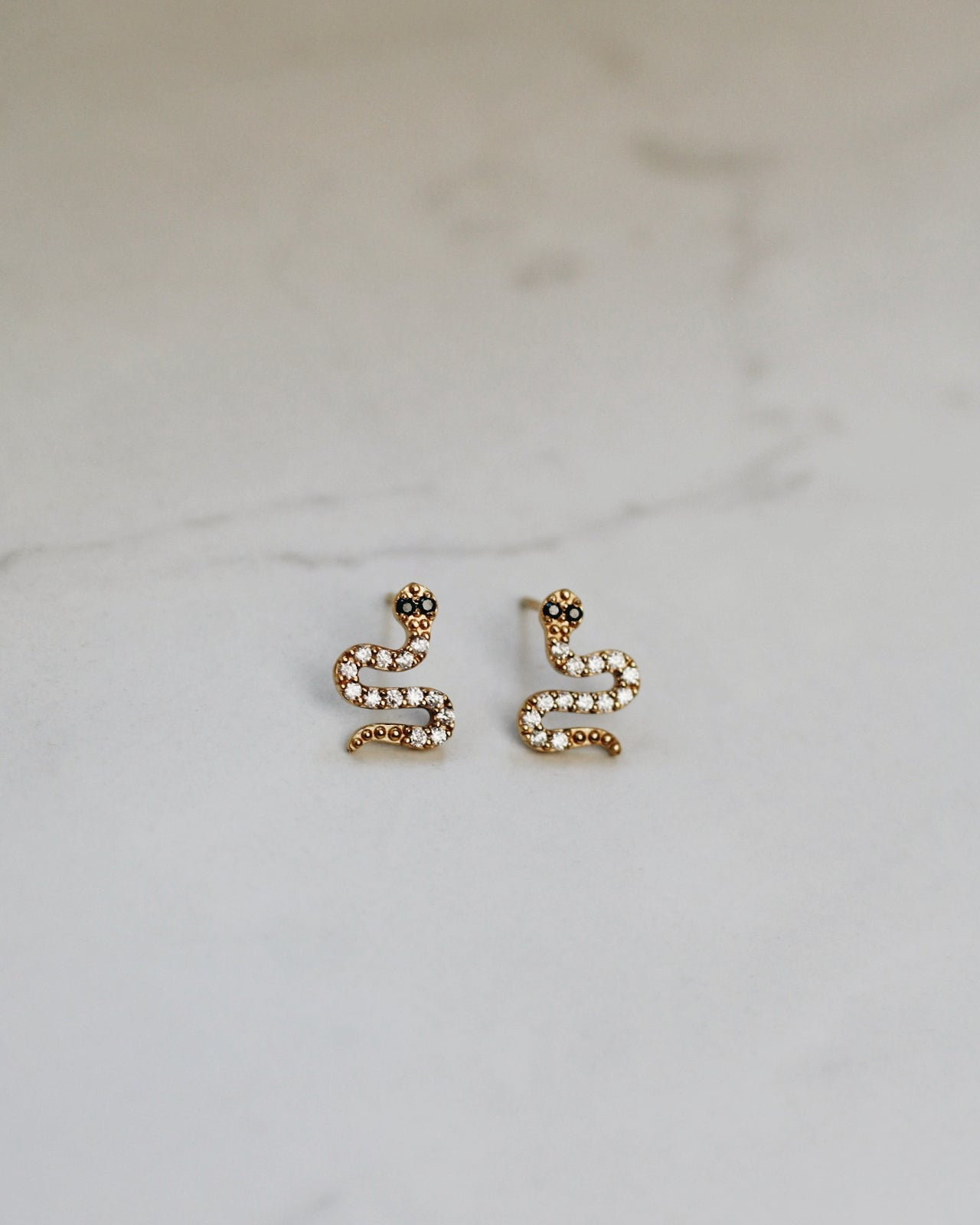 Gold Vermeil Snake Earrings - Cubic Zirconia