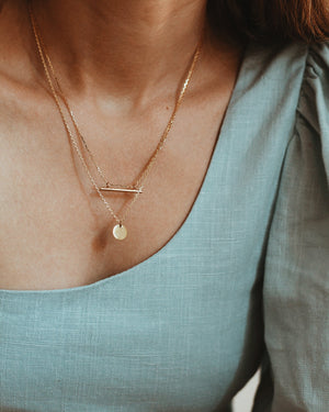 Minimalist Disk Necklace - 24k Gold Vermeil