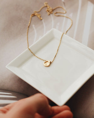 Organically Shaped Small Disk Necklace- 24k Gold Vermeil