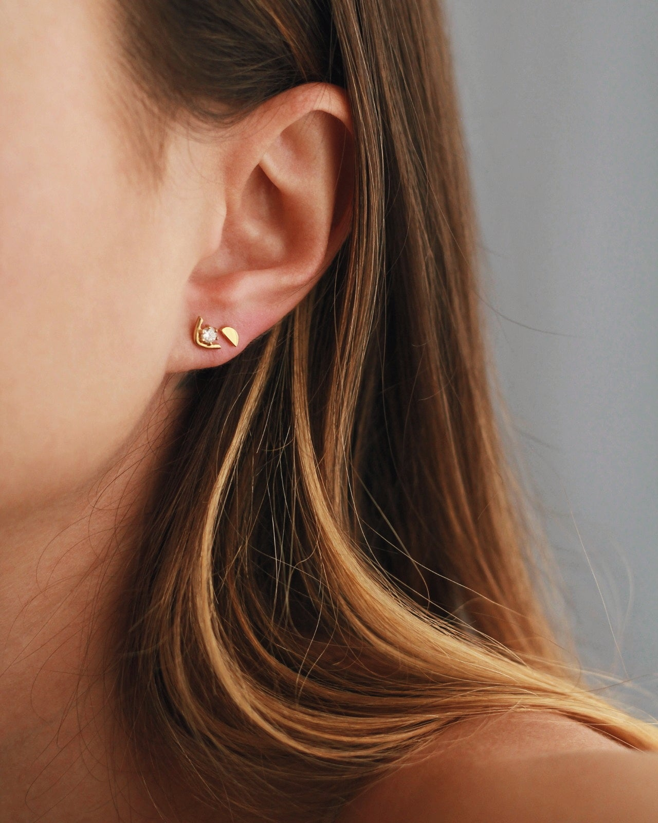 White Zirconia V Stud Earrings