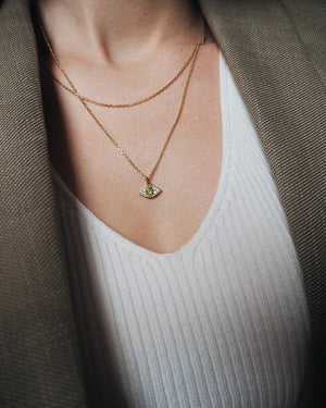 Gold Vermeil - Green Evil Eye Necklace
