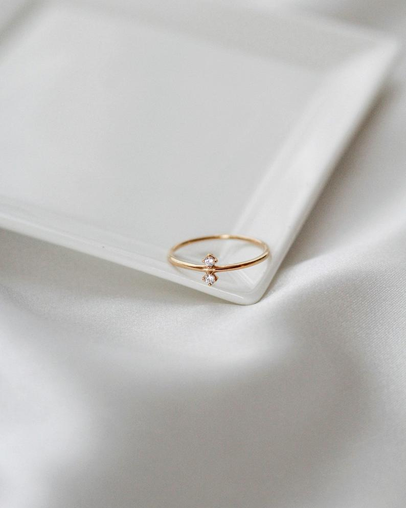 Gold Vermeil Ring - White CZ Ring