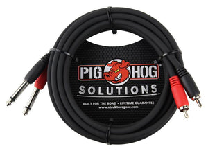 "PIG HOG SOLUTIONS - 10FT RCA-1/4"" DUAL CABLE"