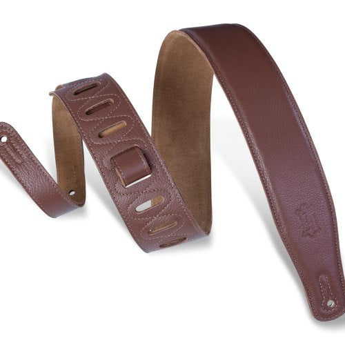 Levy's M26GF-BRN GARMENT LEATHER GUITAR STRAP-Brown