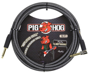 "PIG HOG ""AMP GRILL"" INSTRUMENT CABLE, 10FT RIGHT ANGLE"