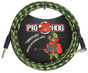 "PIG HOG ""Camouflage"" INSTRUMENT CABLE, 10FT RIGHT ANGLE"