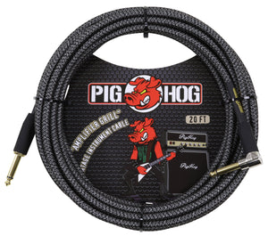 "PIG HOG ""AMP GRILL"" INSTRUMENT CABLE, 20FT RIGHT ANGLE"