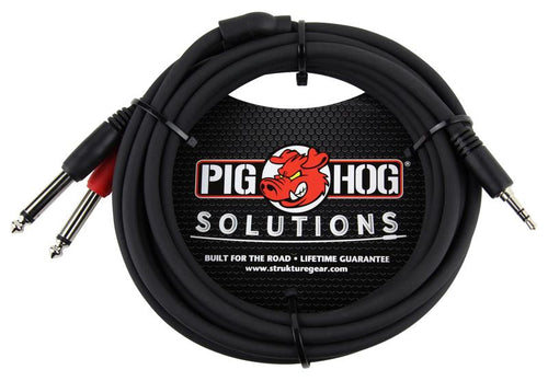 PIG HOG SOLUTIONS - 10FT STEREO BREAKOUT CABLE, 3.5MM TO DUAL 1/4