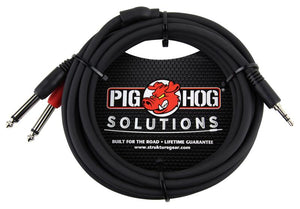 PIG HOG SOLUTIONS - 10FT STEREO BREAKOUT CABLE, 3.5MM TO DUAL 1/4""