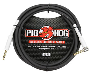 "PIG HOG 10FT 1/4"" - 1/4"" RIGHT ANGLE 8MM INST. CABLE"