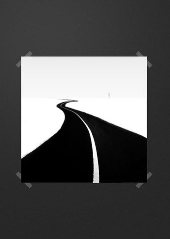 Black white road