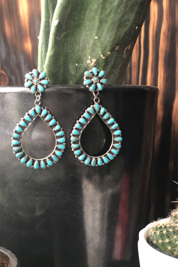 Turquoise Cluster Teardrop Earrings - Tin & Turquoise Western Boutique