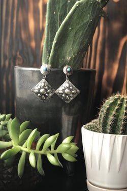 Turquoise Diamond Drop Earrings - Tin & Turquoise Western Boutique